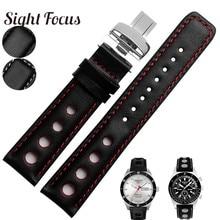 Correas de reloj de cuero de vaca perforadas de 20mm para Tissot Sports Racing PRS516 T100417 T91T044 T021, pulsera cosida roja para hombre