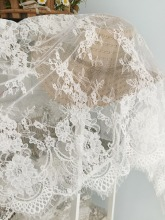 3 Yards Chantilly Frehcn Alencon Lace Fabric, Bridal Wedding Eyelash French Fabric