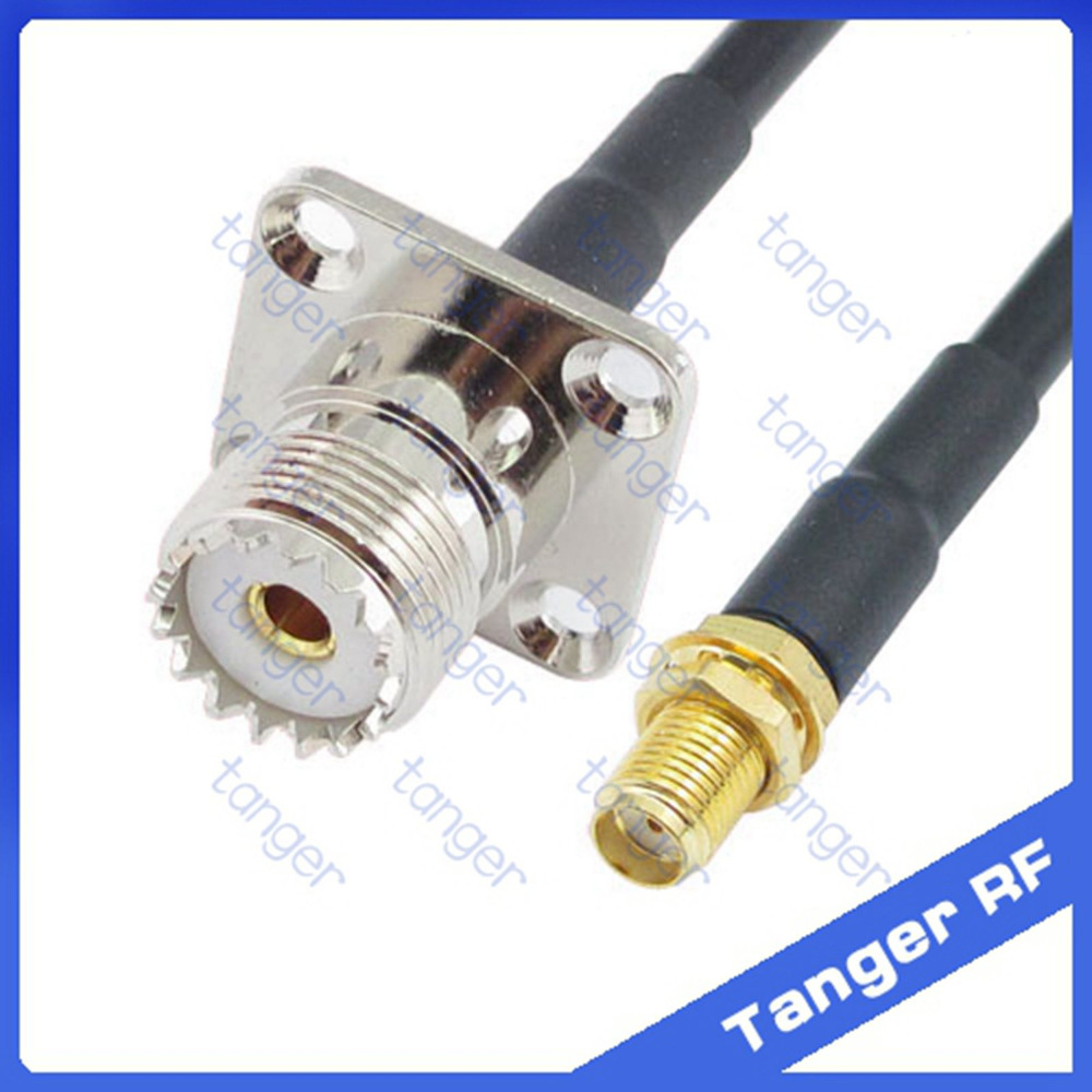 Tanger UHF female jack 4 four hole panel SL16 SO239 to SMA female jack straight RF RG58 Pigtail Jumper Coaxial Cable 50cm 20inch hot selling tanger bnc female jack 4four hole panel to uhf male plug pl259 sl16rf rg58 pigtail jumper coaxial cable 40inch 100cm