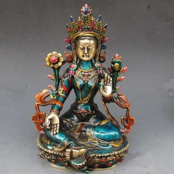 decoration brass factory Pure Brass Antique 8.66 inch Exquisite Chinese hand-carved cloisonne buddhist Buddha green tara statue