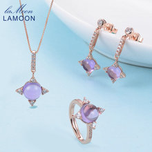 LAMOON Cross star 2.2ct Natrual Amethyst 925 sterling-silver-jewelry Rose Gold Jewelry Set S925 For Women V009-1