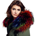 Cuello de piel de mapache real cuello de piel de invierno de las mujeres cap cuello 70/80 cm cuello recto suave colorido de la bufanda de cuello de piel s más caliente #11
