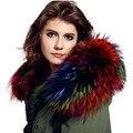 Gola de pele de guaxinim gola de pele verdadeira das mulheres de inverno cap gola colarinho 70/80 centímetros em linha reta colorido suave lenço da pele do pescoço s mais quentes #11