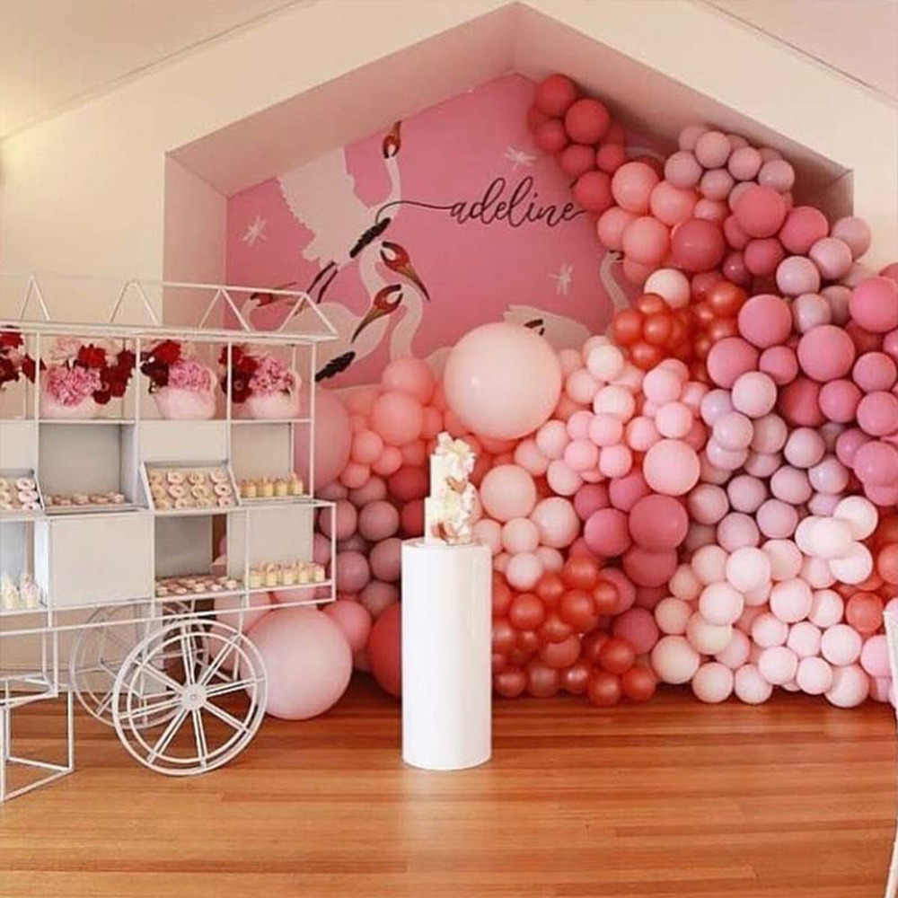 100 قطعة بالون الوردي معكرون للطفل زينة الحمام حفلة عيد ميلاد ديكو التعميد تفضل بالونات الباستيل كرات الزفاف S6X