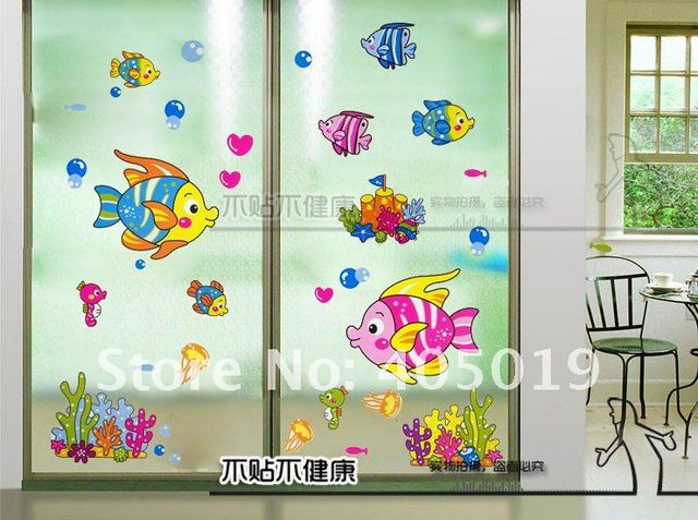 33x60cm tc987 wall stickers sea fish window cling bathroom wallart cartoon festival decoration free shipping mixable
