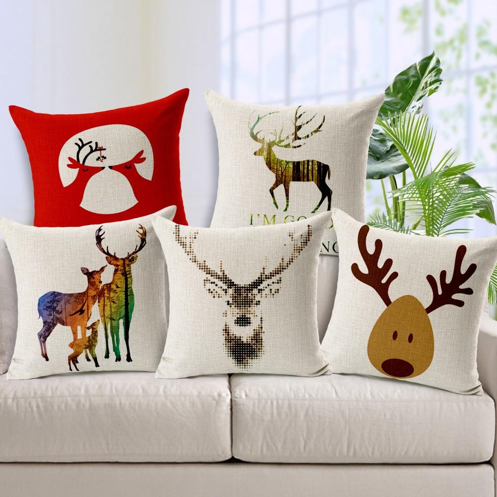 Christmas Reindeer Linen Cushion Cover Elk New Year Decorative ...