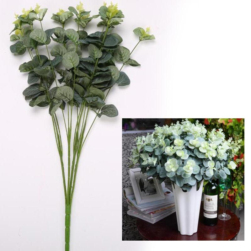 16Heads Artificial Flowers Money Leaves Eucalyptus Leaf Fake Silk Flower Green Plants Branches Bouquet Wedding Party Decoration