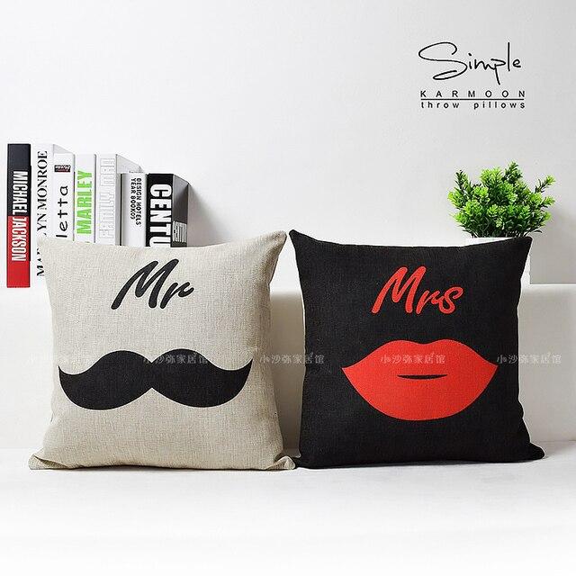 Mr Mrs Kissen Bettwäsche Schnurrbart Lip Kuss Dekokissen Fall Paar