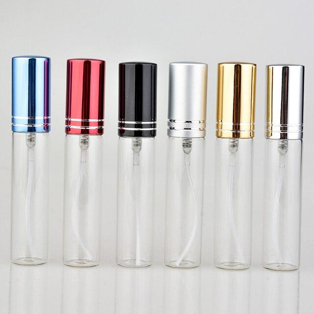 Botella de Perfume de cristal colorida portátil, con atomizador, envases cosméticos vacíos para botellas de viaje, 10ML, 20 unids/lote