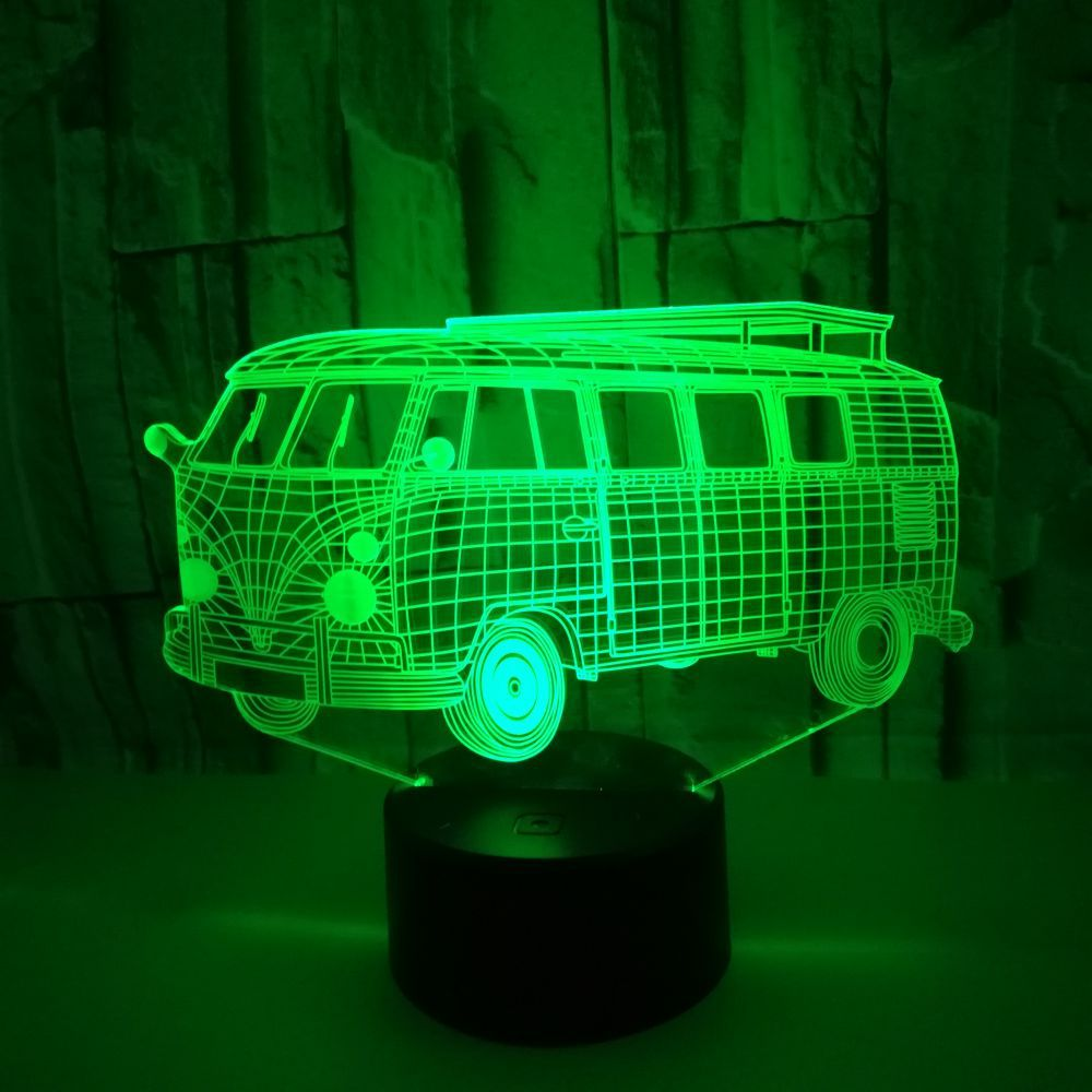 Public Bus Lamp 3D Bus Night Light 7 Color Change Acrylic Light Led Table Lamp Luminaria Xmas Indoor Backlight Model