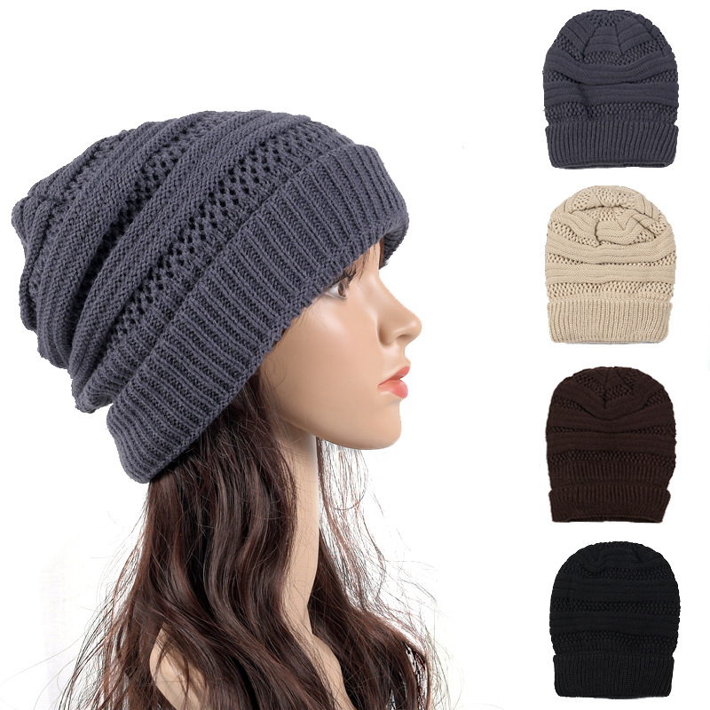 Women Cap Hat Skully Trendy Warm Chunky Soft Stretch Cable Knit Slouchy Beanie Winter Hats Ski Caps Gorritos