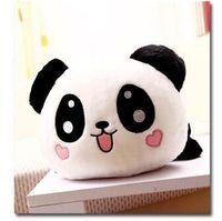 Petit mignon en peluche couché panda jouet petit sourire panda poupée avec des coeurs sur le visage cadeau environ 25 cm 0090