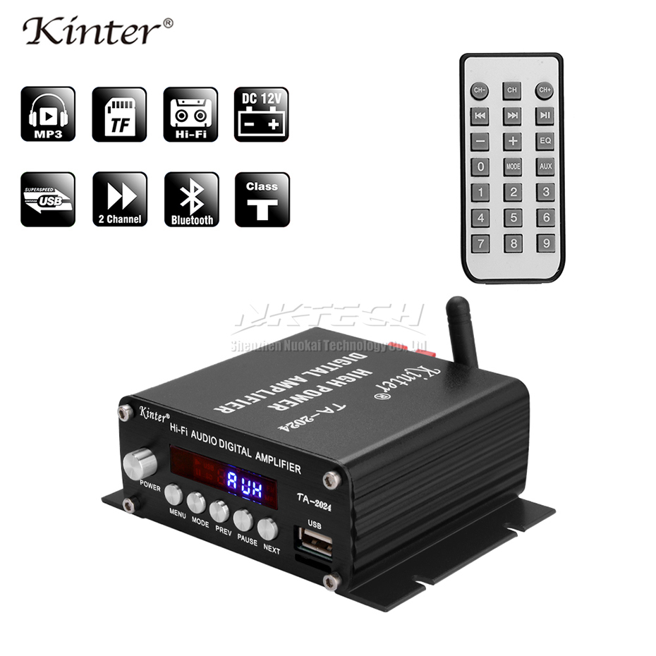 US $25 99 25% OFF|TA 2024 Kinter Bluetooth 2 1 Car Power Amplifier Digital  Player Class T 2 Channel 20W USB/MP3 AUX Hi Fi Audio Speaker High Power-in