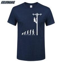 Evolução humana de lineman t camisa presente de aniversário para eletricista pai marido o-pescoço manga curta algodão camisetas masculinas