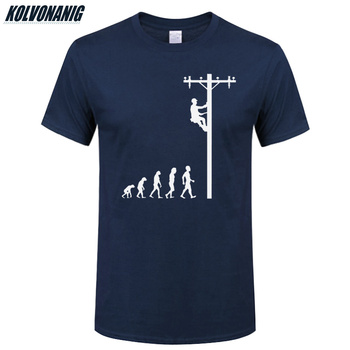 Human Evolution Of Lineman T Shirt Birthday Gift For Electrician Dad  Father Husband O-Neck Short Sleeve Cotton Mens T-Shirts