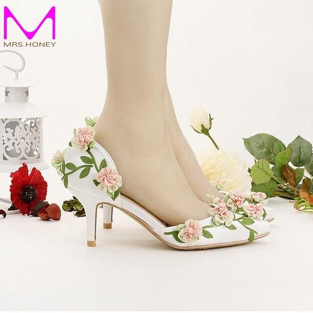 Bride Shoes White Pointed Toe Flower Wedding 7cm Comfortable Kitten Heel Spring Women Pumps Bridesmaid