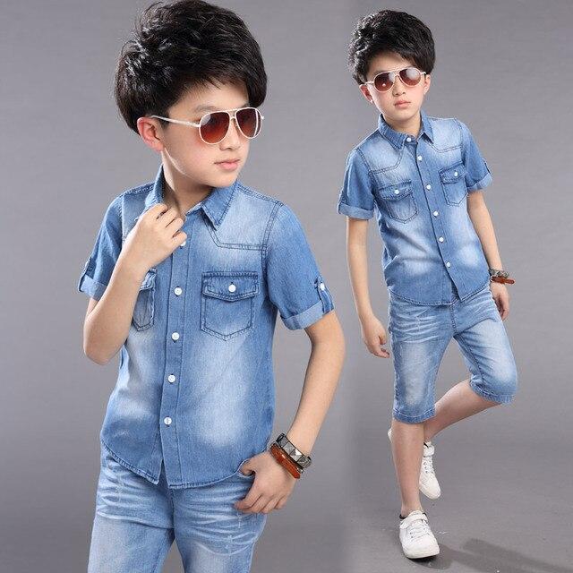 Boys Clothes Boys Summer Set 2pcs Cowboy Shirt +Shorts Teenager Boys Casual Set Short Sleeve shirt Short Pants Boys Suits