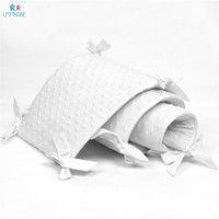 4pc Cotton Soft Baby Bed Bumpers Newbron Baby Crib Liner Pad White Puff for Baby Girls Boys Safe Bumper Guards Crib Rail Padding