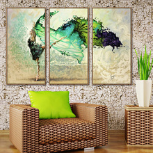 3 Pieces Wall Art Poster Modular Frame HD Painted Pictures Green Ballerina Girl Butterfly Dancing For Home Decor Canvas Painting frameless dancing girl oil painting butterfly wall poster canvas art hd modular picture home decor 3 pieces