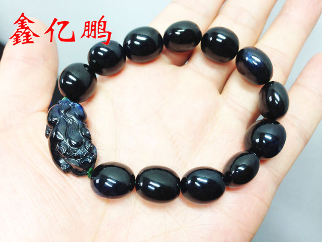 Pure manual grinding system of wear Natural sapphire hand string bracelet with male 369.5 carat with egg noodle rice beads