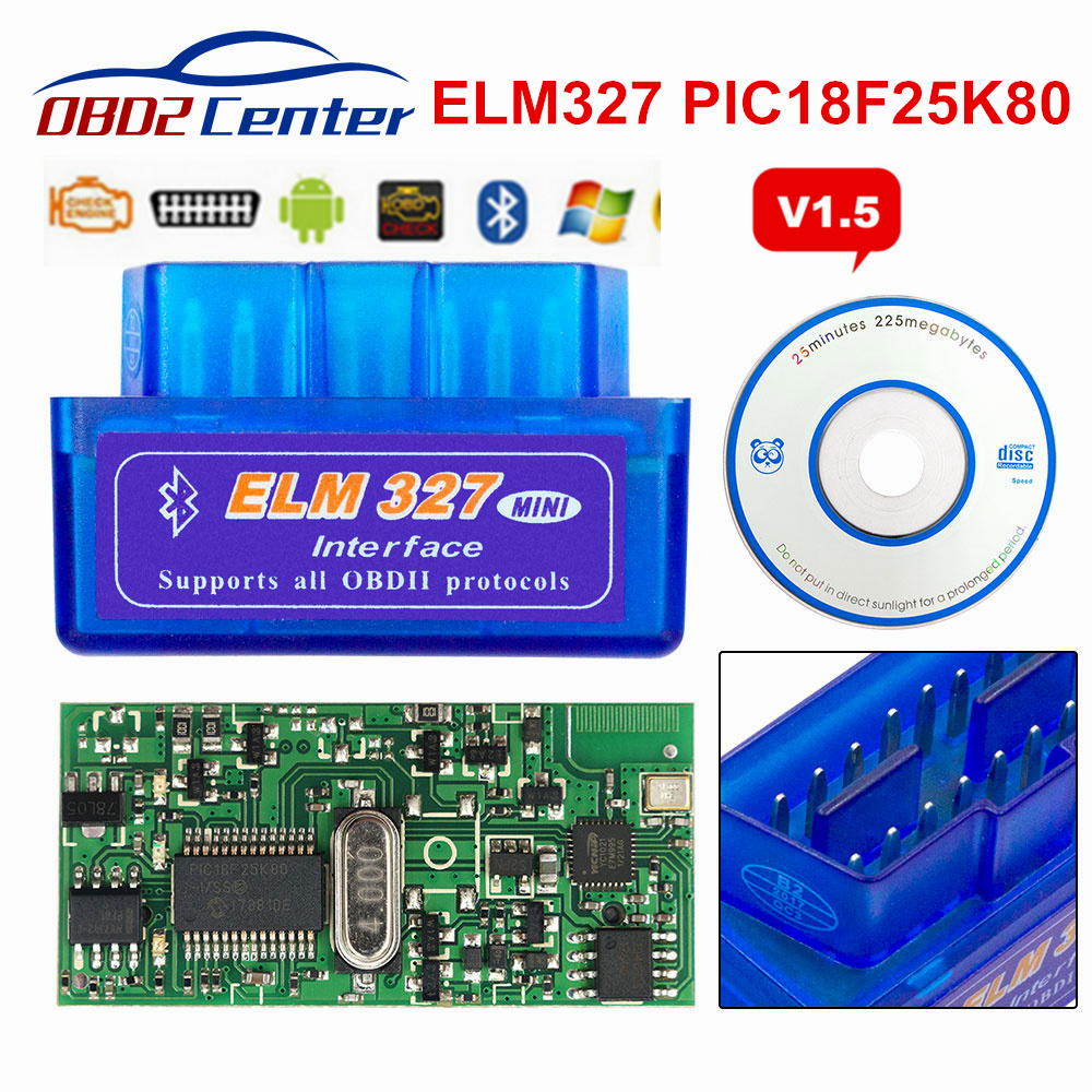 2019 Mini ELM327 V1.5 PIC18F25K80 OBD2 Scanner ELM 327 1.5 OBDII Bluetooth Diagnostic Scan Tool ELM 327 V1.5 25K80 Chip 3 Color