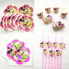 50pc/set Minnie Mouse Party Supplies Paper Plate Cup Straw Napkin Baby Shower Tableware Birthday Decoration Favors