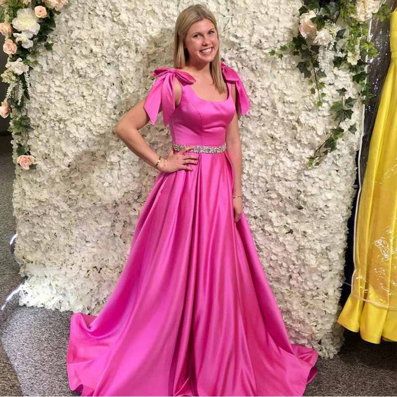 Chic Fushia A-line   Prom     Dresses   For African Women 2019 Scoop Neck Beading Crystal Evening   Dress   Gown With Bow Red Robe de soiree