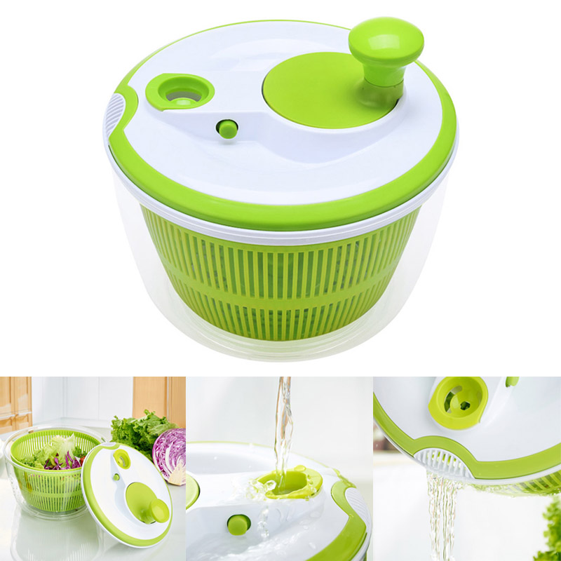 Creative 5L Large Capacity Salad Spinner Pouring Spout Vegetables Dryer Sieve Strainer Colander Basket High Quality 8 JU07 DC120