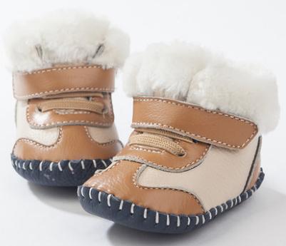 T.S. primeros Caminante Recién Nacido Lindo Genuino Cuero Suave de los Bebés zapatos de Las Niñas Niño Nieve botas de Lana Bebé caliente Primeros Caminante