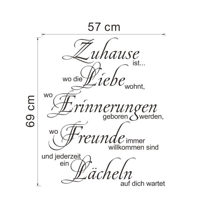 Zuhause German Letters Love Quotes Flower Words Wall Sticker Home Decor For Livingroom Bedroom Zitate Wandaufklebe Liebe ZYd007