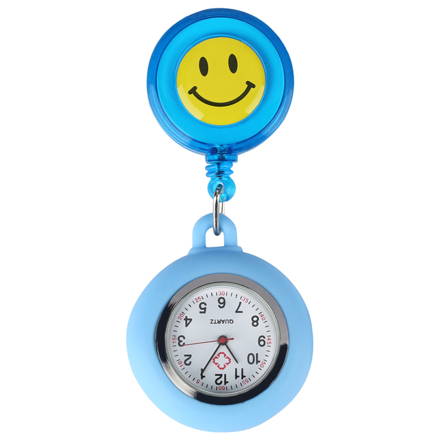 Lovely Smiling Face Nurse Pocket Watch for Ladies Retractable Rope Quartz Analog Gift Watches for Girls 1