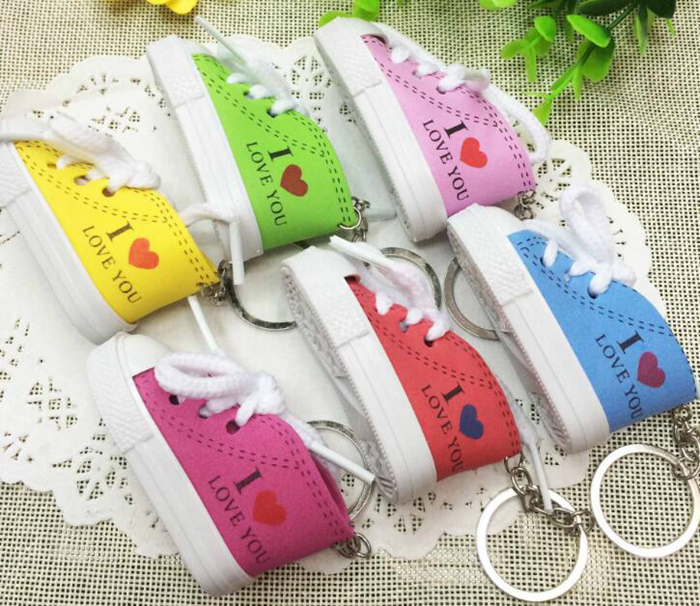 DHLFree 6 colors 110PCS 3D Novelty Canvas Sneaker Tennis Shoe Keychain Key Chain Party I love