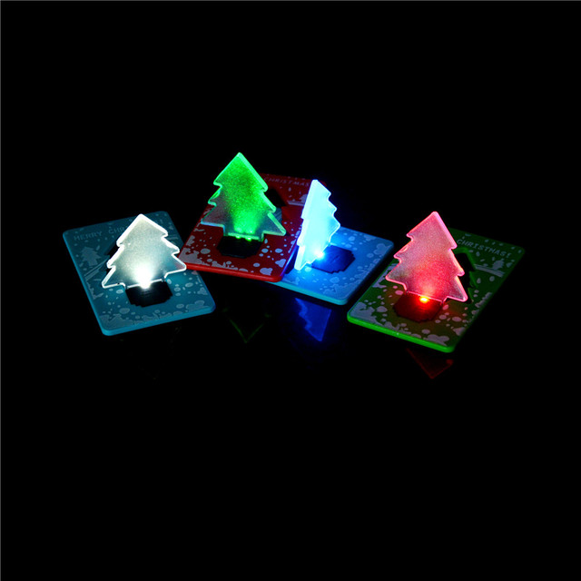 pocket folding xmas tree shape led light credit christmas card christmas decoration light up toy