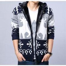 Winter Warm Hooded Christmas Sweater Male Knitting Zipper Cardigan Add Velvet Wool Sweater with Deer Cardigans Men's Clothing