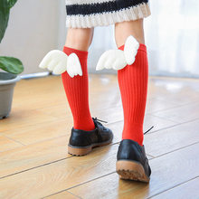 Girls Kid Socks Stockings Angel Wing Child Long Knee Sock Candy Color Sock for Girls Child Vertical Striped Hose for 1-10Y Meia(China)