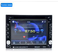 2 Din 6.5'' Touch Screen Universal Car Radio Video Stereo Player GPS Navigation FM RDS USB AUX Bluetooth Remote Control 6518B