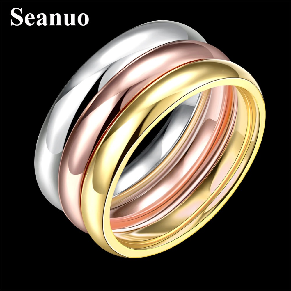 Seanuo 3 PCS/Set shinning golden Stainless Steel Wedding Ring For Women silver girl lady Engagement party Finger Ring Female 6-9