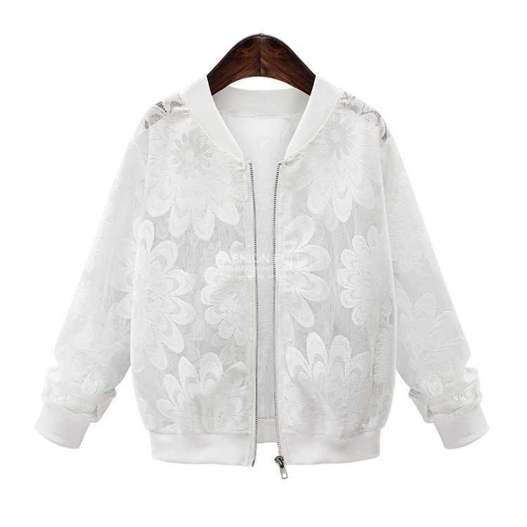 Женское базовое пальто с кружевным рукавом, с длинным рукавом, с кружевом, в стиле пэчворк, прозрачный, с застежкой на молнии, Повседневная тонкая куртка, пальто, куртка-бомбер, верхняя одежда 0325