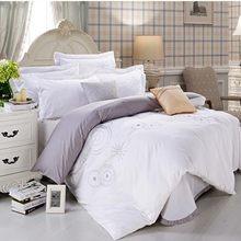 Black White comforter/duvet cover Queen king 4pcs Embroidered pure color bedding set home textile bed sheet bedclothes cotton