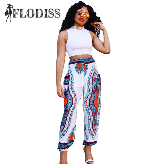 Women African Totem Print Pants Dashiki Bohemia Loose Trousers Ankle-Length Summer Casual Plus Size Straight Pants with Pockets