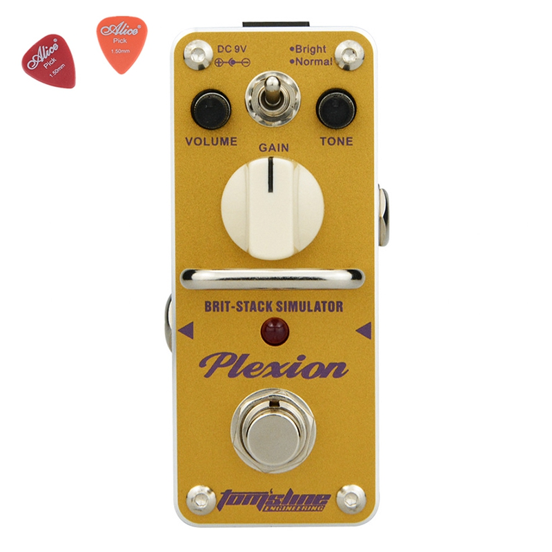 Aroma APN-3 Plexion Brit-stack Simulator Guitar Effect Pedal Yellow Color with True Bypass Guitarra Parts Aluminium Alloy aov 3 ocean verb digital reverb electric guitar effect pedal aroma mini digital pedals with true bypass guitar parts