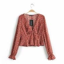 Floral Print Women Summer Shirt National Style Female Full Flare Sleeve Shirts Fold Spring Ladies V-Neck Slim Tops Thin