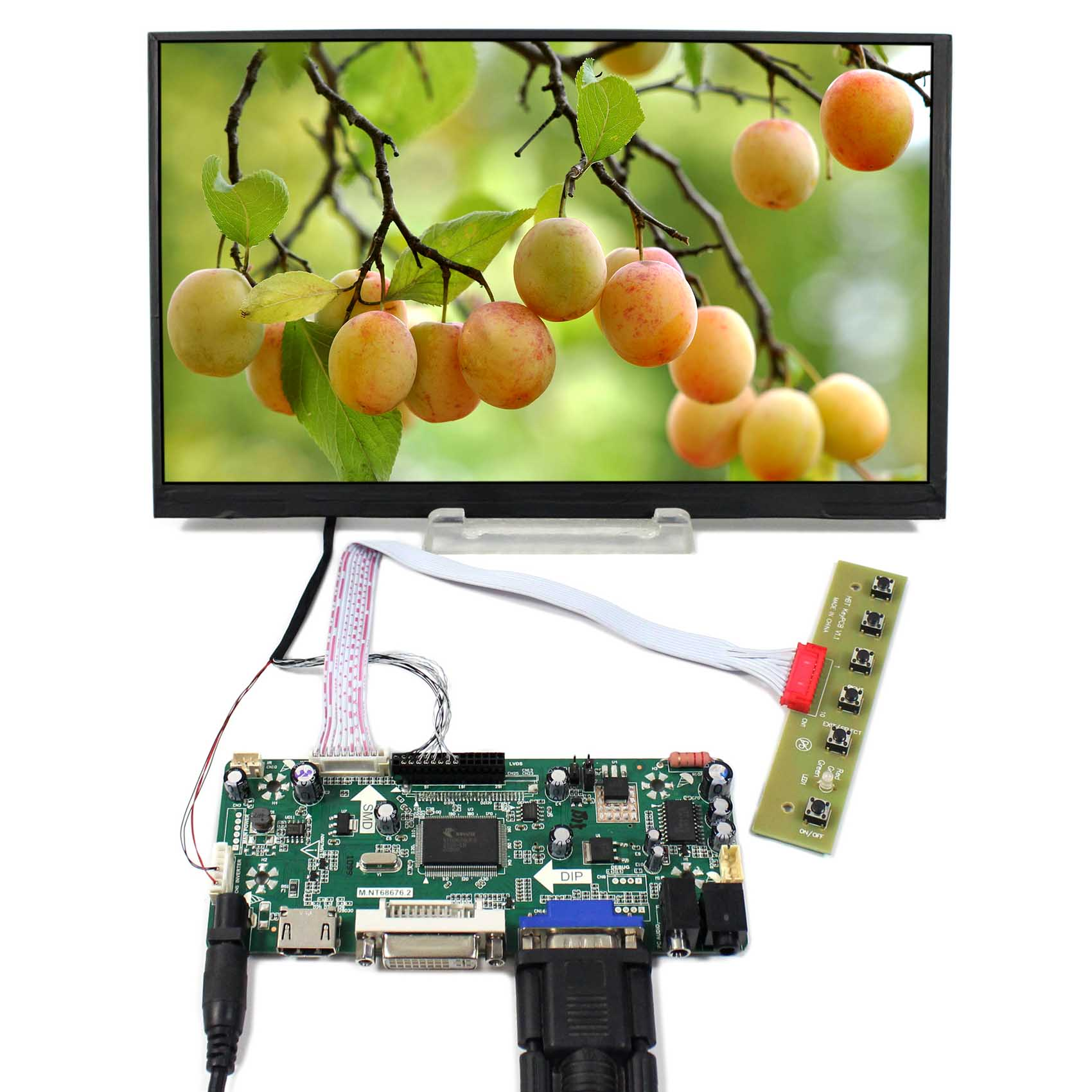 HDMI+DVI+VGA+Audio LCD Controller Board With 10.6inch 1366x768 LTL106AL01 IPS LCD Screen hdmi vga av audio usb control board 10 6inch ltl106al01 1366 768 ips lcd panel screen model lcd for raspberry pi