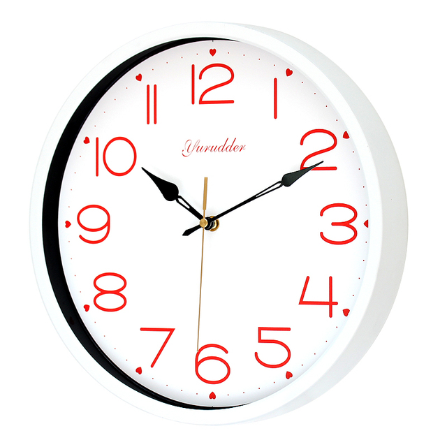 Newest 12 Inches Metal Frame Fashion Sweet Heart Design Lady Love Black Hands Round Wall Clock Decorative Wall clock
