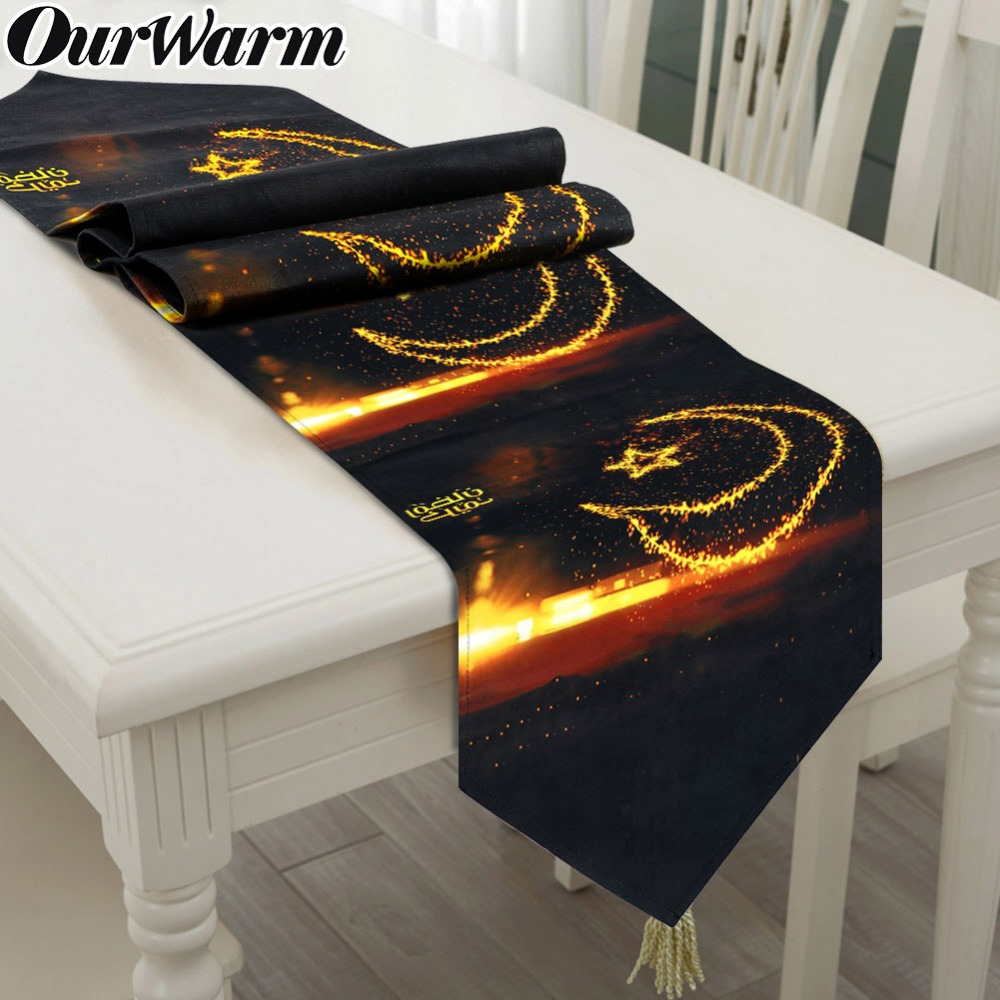 OurWarm Ramadan Mubarak Black Table Runner Islamic Muslim Mubarak Party Supplies Eid Mubarak Decoration 32x180cm