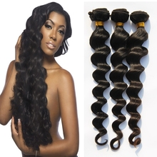 3PCS 8A Full Cuticle Human Hair Loose Wave Extensions Indian Unprocessed Loose Wave Virgin Hair Weave Wavy Hair Weft 12-26″AL332