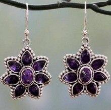 Retro Purple Crystal Flower Earrings Female Fashion Jewelry Geometric Plant Popular Jewelry недорого