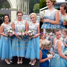 Ball Gown Jewel Neck Ankle Length Organza / Corded Lace Bridesmaid Dress with Appliques / Sash / Ribbon / Pleats