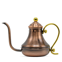 420ML Stainless Steel Coffee Pot Turkey Royal Drip Fine Mouth Gold Plated Handle Bronze
