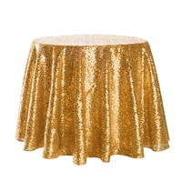 Sparkle Round Sequin Tablecloth Table Cover Wedding Party Banquet Gold repeatedly Exquisite edges not easily loose thread#4M13